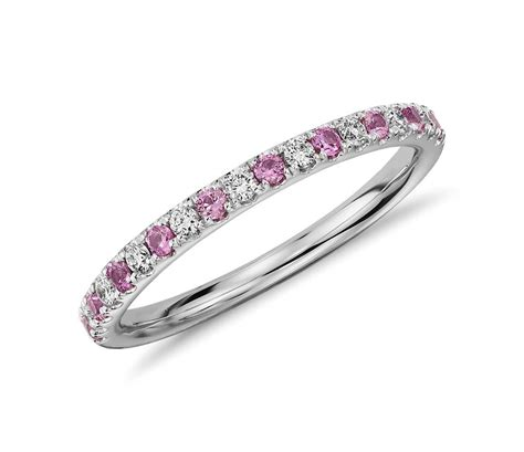 Riviera Pavé Pink Sapphire And Diamond Ring In 14k White