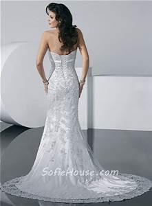Gorgeous Mermaid Strapless Summer Beach Lace Wedding Dress ...