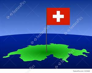 Swiss Flag On Map Stock Illustration I1415948 At Featurepics