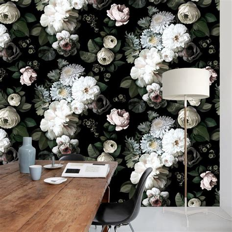 dark floral wallpaper  ellie cashman design