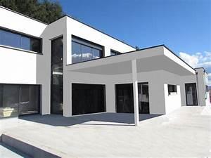 maison contemporaine toit terrasse mc immo With maison toit plat en l 17 le pool house de piscine