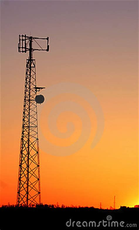 cell phone tower silhouette royalty  stock image