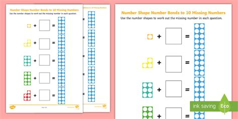 * New * Number Shapes Number Bonds To 10 Missing Numbers