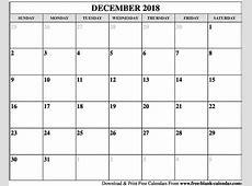 Blank December 2018 Calendar Printable