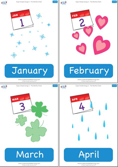months chant flashcards super simple