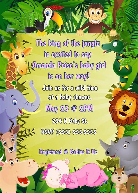 baby girl shower jungle invitation kustom kreations