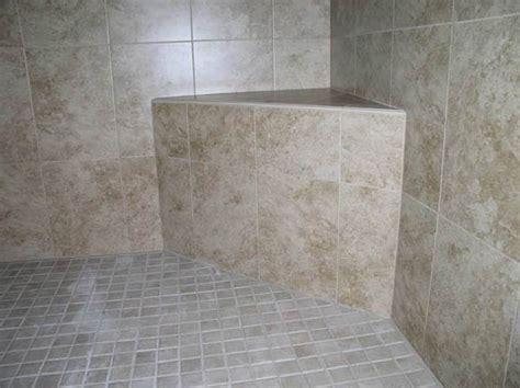 tiled shower seatbench   cement mortar tile
