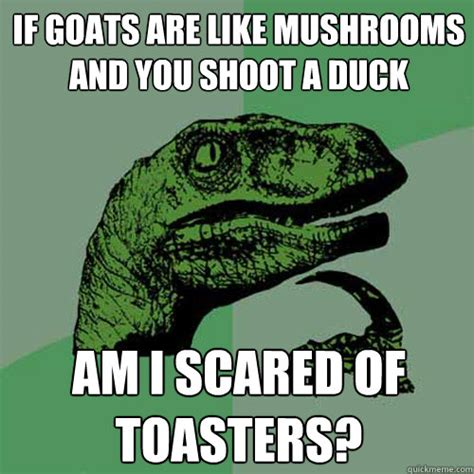 Mushroom Meme - if goats are like mushrooms and you shoot a duck am i scared of toasters philosoraptor