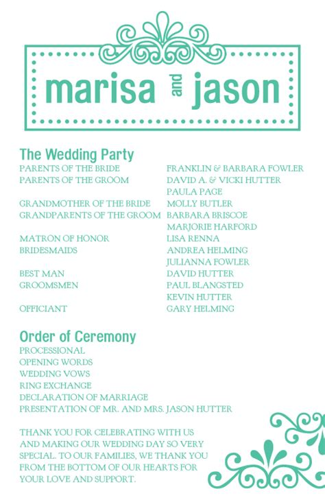 1 page wedding program wording free software and shareware