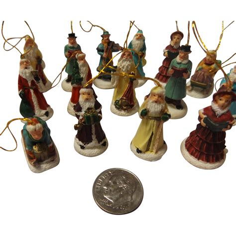 vintage ceramic miniature christmas tree ornament set from