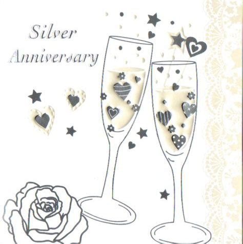 silver anniversary silver wedding invitations cards in packs of 5 party wizard