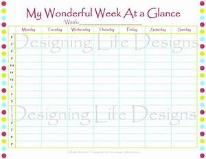 week at a glance printable calendar template 2016 With day at a glance calendar template