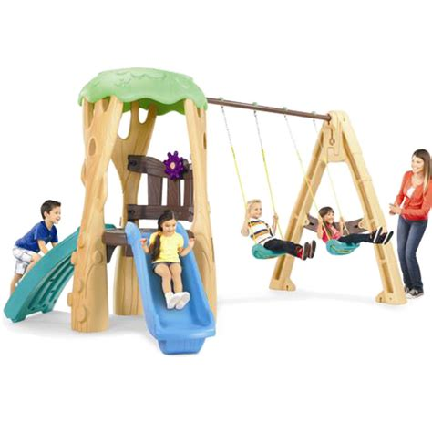 tike swing and slide tikes tree house swing set climber slide buy
