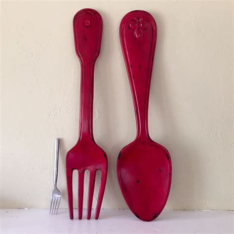 x large fork and spoon wall decor distressed shabby chic red