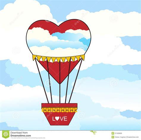 hot air balloon heart shaped royalty  stock image