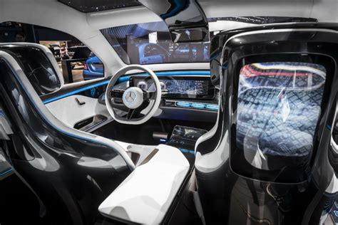 The vision eqs glides from destination to destination through the efforts of two electric motors, one at each axle, balanced by a battery integrated in the vehicle floor. 2017 Mercedes-Benz Generation EQ front interior_o - Mercedes-Benz Central Star Motor Cars