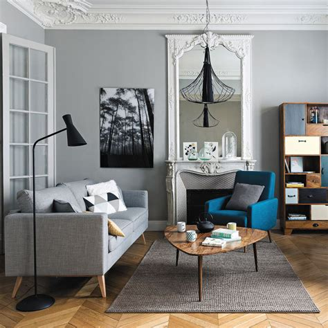 peindre canapé tissu salon gris scandinave