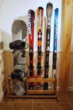 handcrafted  standing wooden ski rack ski rack