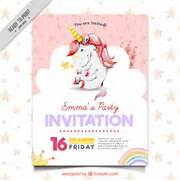 Cute Party Invitation With Unicorn Vector Free Download Unicorn Invitations Unicorn Party Invitation Invitation 17 Best Images About Rainbow Unicorn Party On Pinterest Free Unicorn Birthday Party Printables For Young Girls