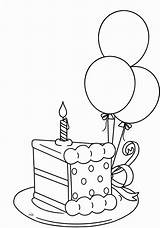 Birthday Coloring Cake Pages Happy Printable Adults sketch template