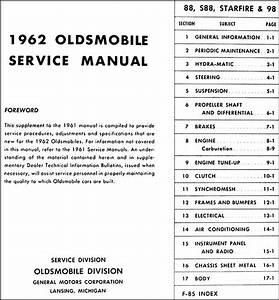 1962 Oldsmobile Repair Shop Manual Original Supplement