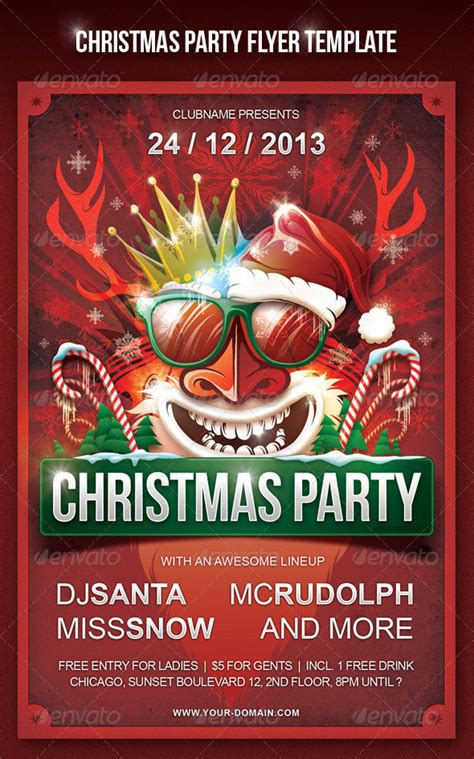 christmas  year party psd flyer templates web