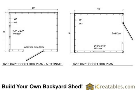 Shed Floor Plans 8x10 by 8x10 Cape Cod Shed Plans Storage Shed Plans