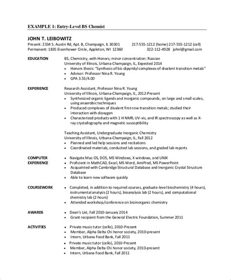 Entry Level Resume by Sle Entry Level Resume 9 Exles In Word Pdf