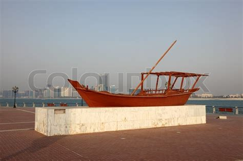 traditional arabic wooden dhow boat  abu dhabi united
