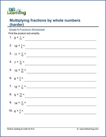 grade 6 fractions worksheet multiplying fractions by whole