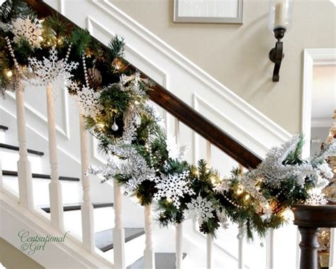 How To Decorate Banister With Garland by Garland On Staircase Lori S Favorite Things