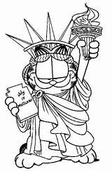 Liberty Statue Coloring Garfield Drawing Colouring Crown Printable Netart Redeemer Christ Getcolorings Getdrawings sketch template