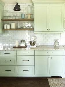nice cabinet color and full wall of subway tile with open With kitchen colors with white cabinets with tea wall art