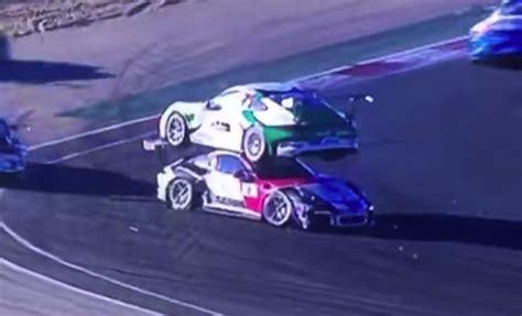 Porsche On Top Of Porsche by A Porsche Landed On Top Of Another Porsche During The Gt