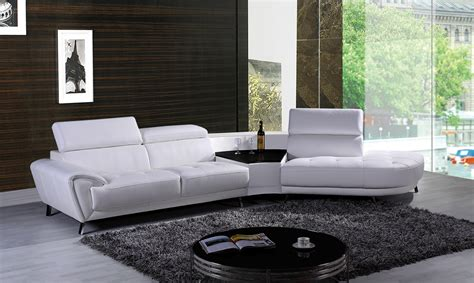 chaises casa divani casa raizel modern white leather sectional sofa w