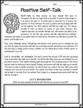 positive  talk worksheet   worksheets image