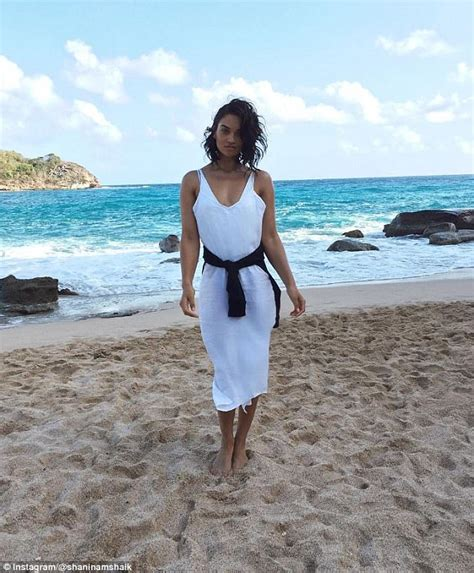 Model Shanina Shaik Flaunts A Busty Display In Bikini Top Daily Mail Online