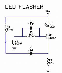 very simple 2 transistor led flasher circuit tech stuff With singleledcircuitjpg