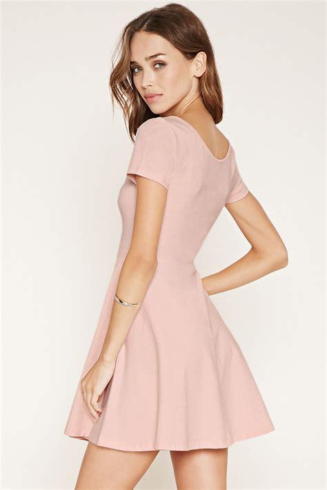light pink dress forever 21 forever 21 scalloped skater dress in pink lyst