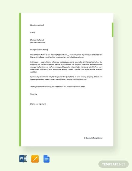 sample personal reference letter   word excel