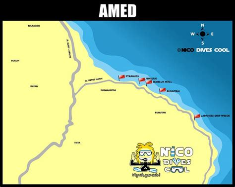 amed diving  snorkeling spots map nico dives cool bali