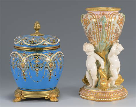 European Jeweled Porcelain And Glass Vase And Jar