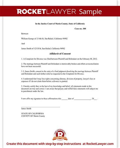 affidavit of consent form affidavit of consent form divorce affidavit sle template