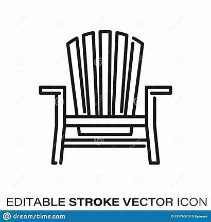 Adirondack Chair Vector Icon Line Outline Outdoor