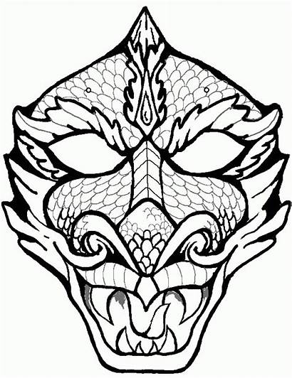 Dragon Coloring Face Head Chinese Drawing Pages