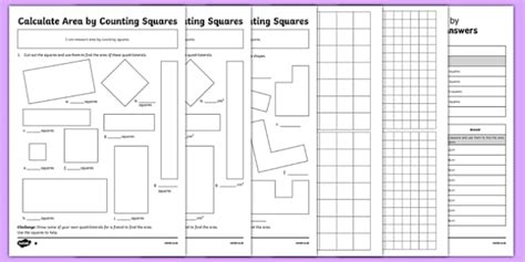 year 4 calculate area by counting squares worksheet activity