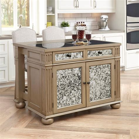 home style kitchen island home styles visions silver and gold chagne kitchen 4305