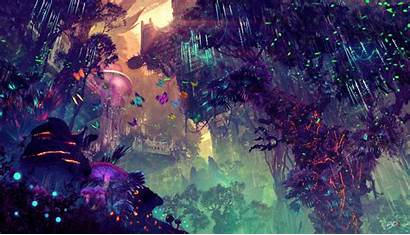 4k Forest Glowing Drawing Colorful Fantasy Landscape