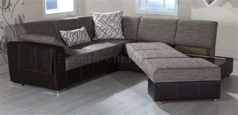 convertible sectional sofa bed brown fabric leatherette base convertible sectional sofa bed
