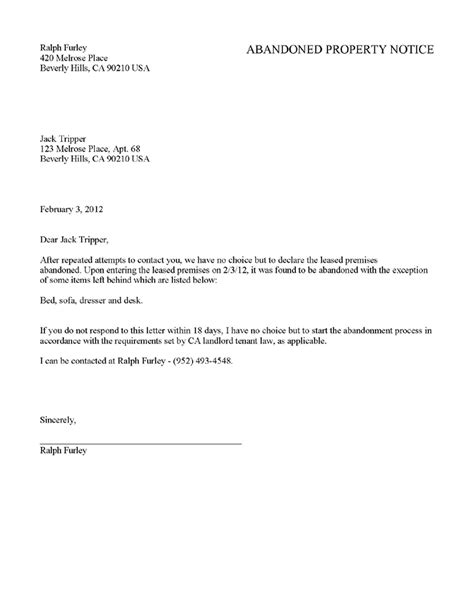 day notice  landlord template notice letter